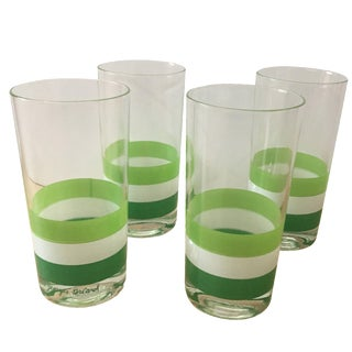 Georges Briard Green & White Tumblers - Set of 4