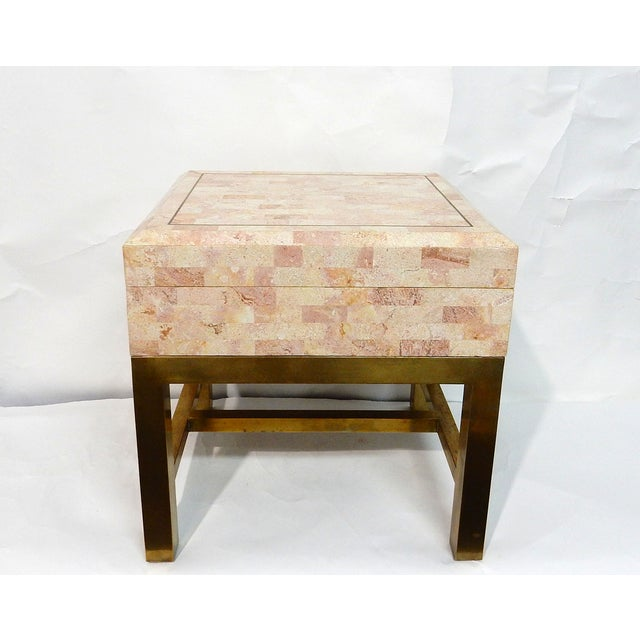 Maitland-Smith Stone & Brass Box Side Table - Image 10 of 10