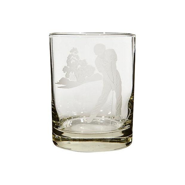 Image of Vintage Etched Golf Glass Tumblers - Set of 5