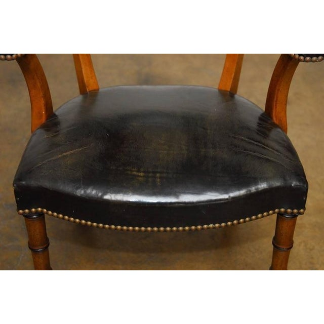Barnard & Simonds Leather Library Chairs - Set of 4 - Image 7 of 10