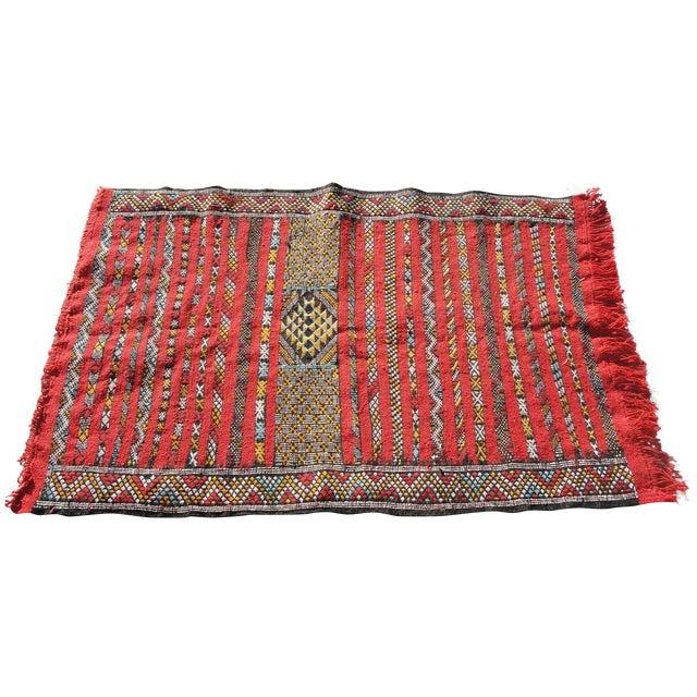 "Red Moroccan Tribal Kilim Rug - 2'7"" X 4' - Image 1 of 6"