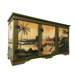 Artiero Brazil Tropical Palm Tree Hand-Painted Credenza Cabinet