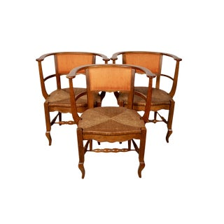 French Rush Seat Barrel Chairs - Set of 3