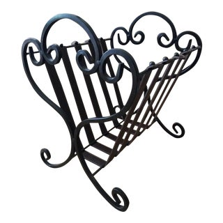 Scrolled Iron and Leather Tuscan Magazine Rack