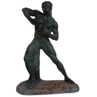 French Art Deco Terra Cotta Athlete Sculpture by Bargas, Circa. 1930