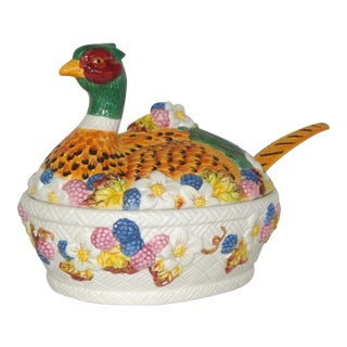 Vintage Ceramic Pheasant Soup Tureen & Ladle