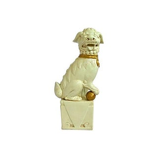 Creme and Gold Ceramic Foo Dog