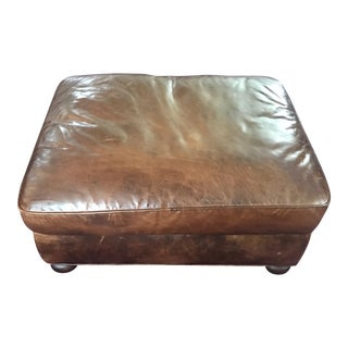 Restoration Hardware Lancaster Leather Ottoman