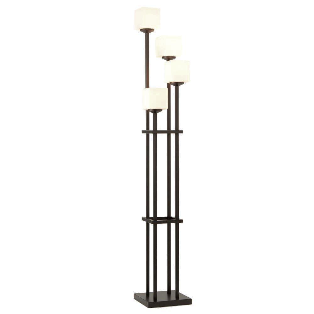 Four Light Bronze Torchiere Floor Lamp : Chairish