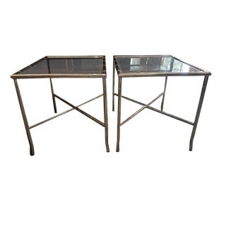 Chrome & Glass Side Tables - A Pair