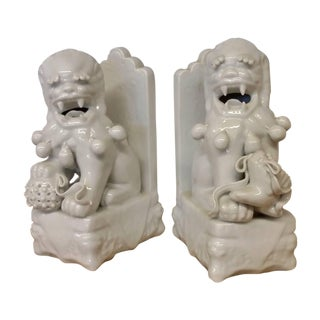 White Porcelain Lion Foo Dog Book Ends - A Pair