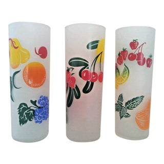 Frosted Fruit Tom Collins Glasses - S/3