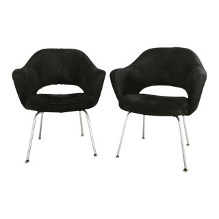 Forsyth One of a Kind Eero Saarinen for Knoll Armchairs in Natural Black Cowhide - Pair
