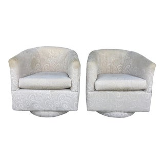 Mid-century Barrel Swivel Chairs - a Pair