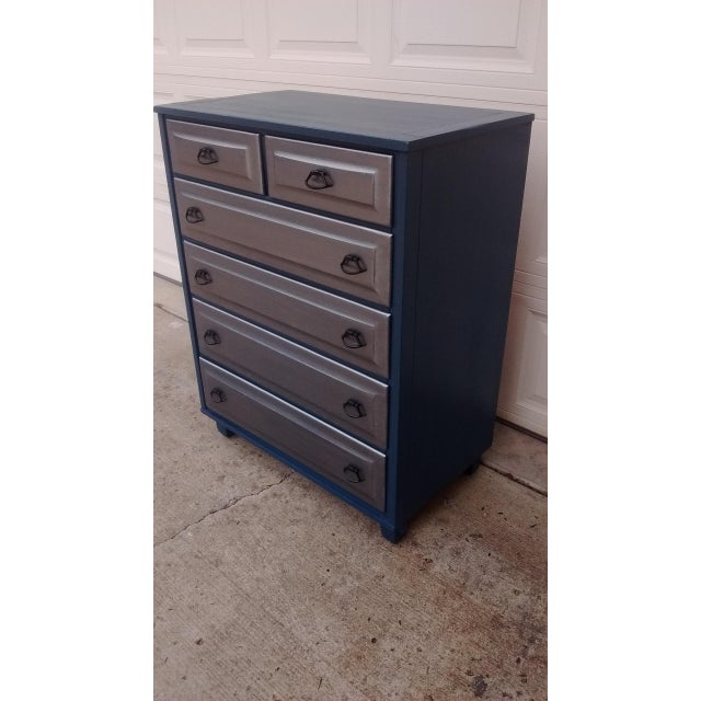 Mid-Century Blue & Metallic Solid Wood Dresser - Image 4 of 7