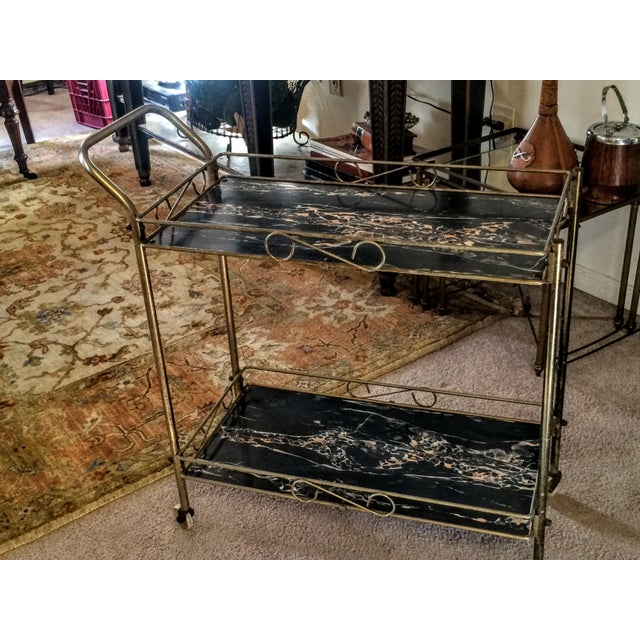 Mid-Century Modern Brass & Marble Rolling Bar Cart - Image 4 of 11
