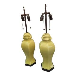 Citron Porcelain Table Lamps with Serpentine Detail