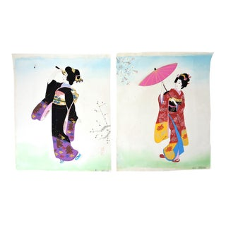 """Ladies of the Floating World"" Antique Paintings on Silk - a Pair (Bijin)"