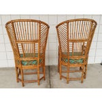 Image of Bamboo High Back Arm Chairs- A Pair