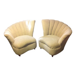 Pair of Mid Century Modern Tan Fan Chairs