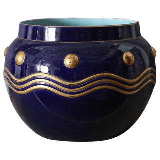 French Faience Cachepot with Gilt Detail