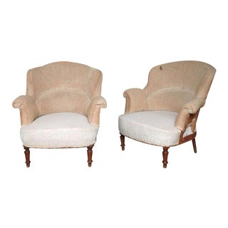 Pair of French 19th Century Armchairs in Muslin