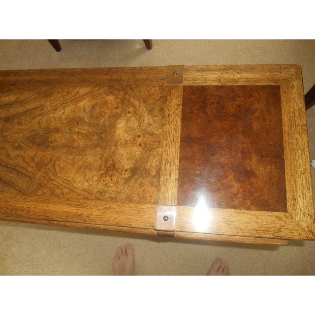 Mid-Century Mod Burled Walnut Console Table - Image 5 of 8
