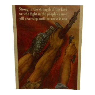 """Strong in the Strength of the Lord"" Vintage WWII Poster, Circa 1942"