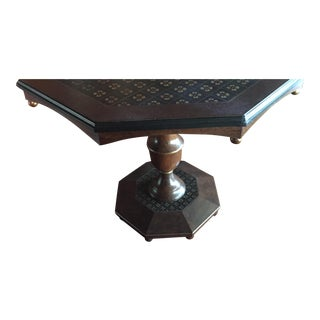 Octagon Table With Pedestal Base and Decorative Finish