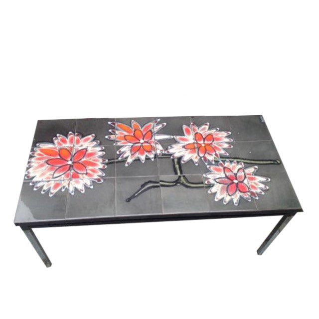 Vintage 1960s Belgian Tiled & Chrome Coffee Table - Image 1 of 6