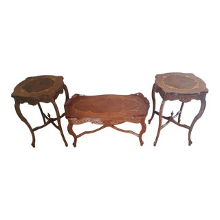 Vintage Inlaid Coffee & End Tables - Set of 3