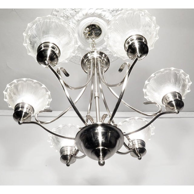 Stainless Steel & Halophane Chandelier - Image 3 of 7