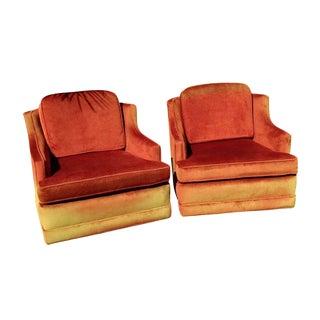 Mid Century Sunburst Orange Swivel Chairs - Pair