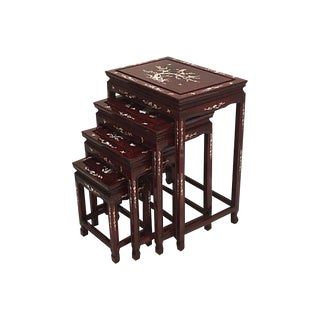 Chinese Rosewood & Abalone Nesting Tables - Set of 4