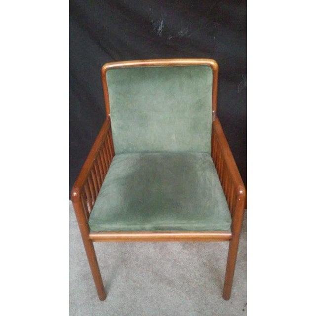Ward Bennett for Brickel Teak Suede Chairs - A Pai - Image 4 of 7