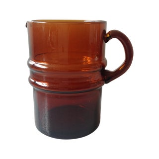Scandinavian Dark Amber Glass Cocktail Pitcher