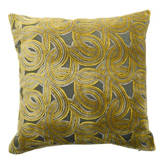 Italian Damask Green & Yellow Velvet Pillow