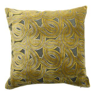 Italian Damask Green & Yellow Velvet Pillow