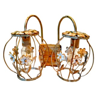 Vintage Wrought Iron Italian Tole Vanity Light Fixture