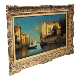 Framed 19th Century Venice Oil Painting