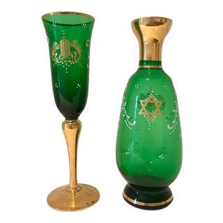 24 Karat Gold Paint Murano Glass Goblet & Decanter - A Pair