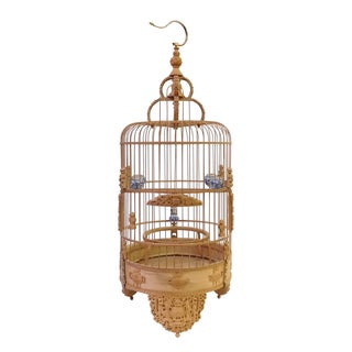 Bamboo Floral Carved Birdcage