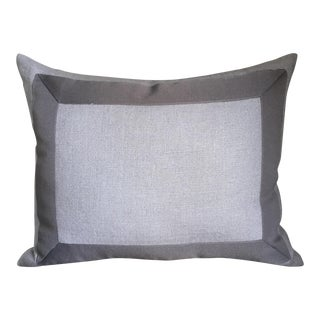 Gray Linen & Ribbon Pillow
