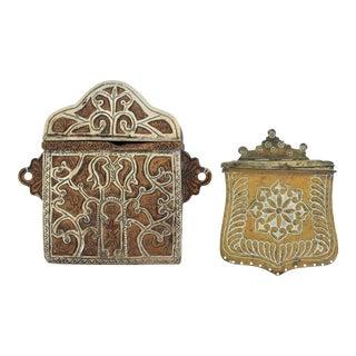 Decorative Brass Matchboxes, Pair