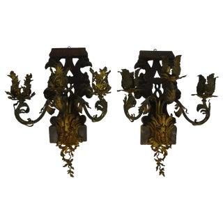 Bronze & Wood Eagle Sconces - A Pair