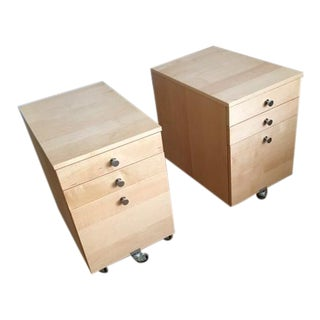 Solid Wood Office File Cabinets - A Pair
