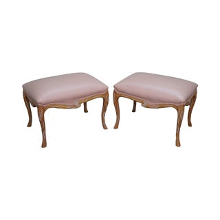 Unusual Faux Branch Leather Ottomans - A Pair
