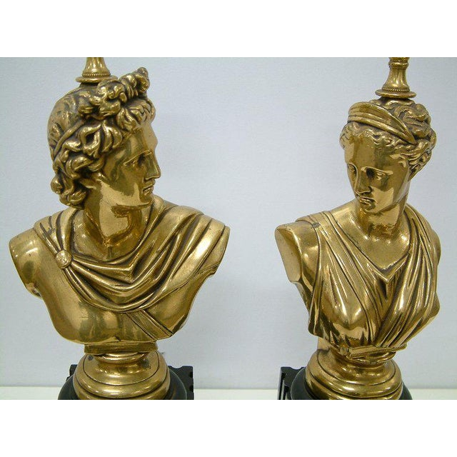 Brass Classical Bust Lamps - A Pair - Image 6 of 8