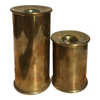 Vintage Cylindrical Brass Candle Holders - A Pair