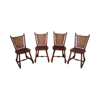 Old Hickory Signed Vintage Woven Splint Back Dining Chairs - Set of 4